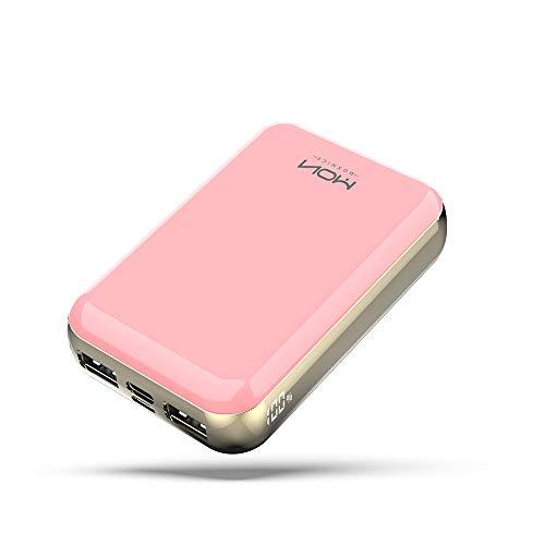 MOXNICE Bateria Externa Movil Power Bank 10000mAh, USB C Powerbank con 2 Salidas USB & Pantalla LCD para iPhone iPad Samsung Huawei Xiaomi (Rosa)