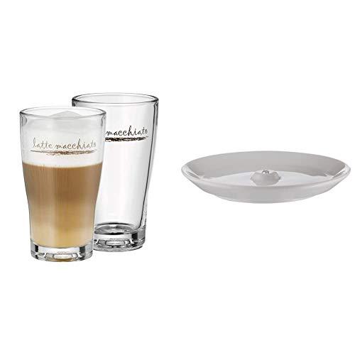 WMF Barista Latte Macchiato Gläser Set 2-teilig, Latte Gläser 264 ml, Latte Macchiato Glas mit Schriftzug, spülmaschinengeeignet & Barista Unterteller/ Untertasse 14,3 cm für Barista Tassen und Gläser