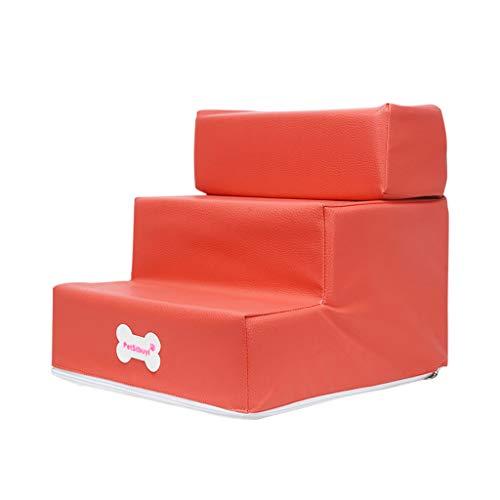 Yowablo Hundetreppe Haustiertreppe Pet 3 Treppe Mode Neue Leder Faltbare Haustiertreppen Abnehmbare Haustierbett Katze Hund Rampe (Falte Größe:30 * 35 * 30cm,1- Rosa)