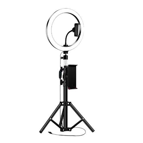 Basage Anillo de Luz de 10 Pulgadas con TríPode para Studio Video FotográFico LED LáMpara de Anillo 5600K con Enchufe USB para Maquillaje