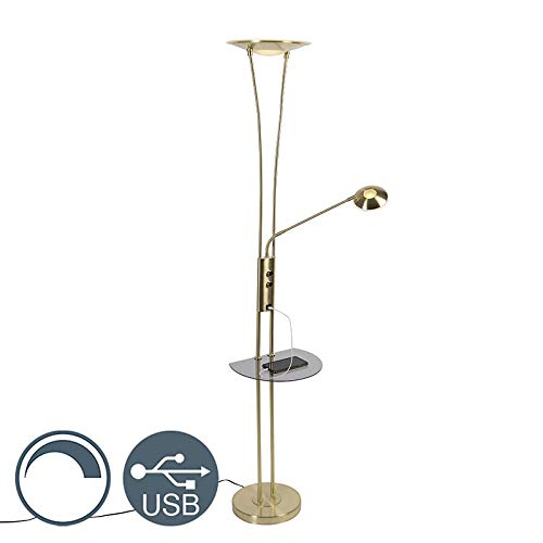 QAZQA - Modern Gold | Messingene Stehlampe mit Lesearm inkl. LED und USB-Anschluss - Sevilla Dimmer | Dimmbar | Wohnzimmer | Schlafzimmer | Deckenfluter - Stahl Länglich - | (nicht austauschbare) LED