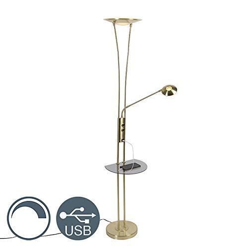 QAZQA Modern Gold/Messingene Stehlampe mit Lesearm inkl. LED und USB-Anschluss - Sevilla Dimmer/Dimmbar/Innenbeleuchtung/Wohnzimmerlampe/Schlafzimmer/Deckenfluter Stahl/Glas Länglich / (n