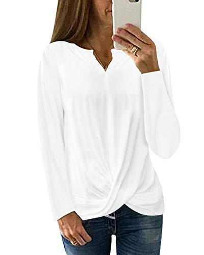 YOINS Haut Femme Automne T-Shirt Manches Longues Chemisier Casual Col V Pull Long Femme Grand Taille