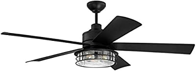 """Craftmade GAR56FB5 Garrick Vintage Industrial 56"""" Outdoor Ceiling Fan with LED Light Kit with Remote & Wall Control, 5 ABS Blades, Flat Black"""