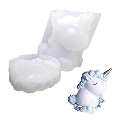 FJUNQ Silikon-Einhorn-Gießform, DIY Handgefertigte Kristallform, 3D Cartoon Tier Wiederverwendbare Harzform Für Seife, Wachs, Gips, Polymer Clay, Kerze