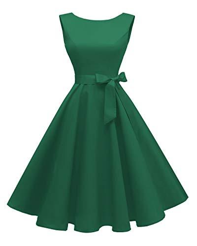 Hanpceirs - Vestido de cóctel para mujer con cuello bote sin mangas, estilo vintage de los años 50, Classic, M, Porcelana