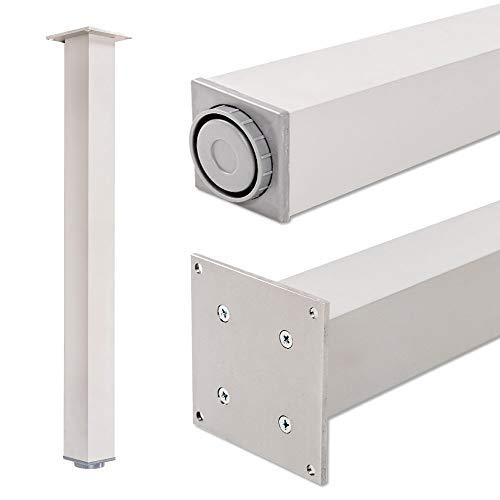 Pied de table, 100% aluminium, hauteur réglable | Sossai® Exclusif E4TBAL | Profil: carré | Outils pour l'assemblage inclu | 1 pied de table | Hauteur: 82 cm (820 mm), réglable + 2 cm