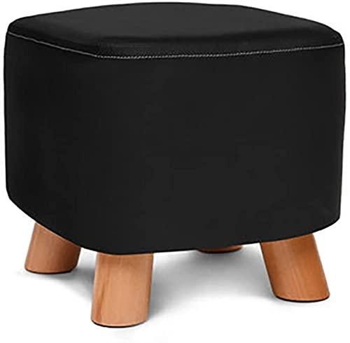 HZYDD Taburete cuadrado de madera maciza, taburete otomano para silla, funda de piel sintética y 4 patas sofá hogar taburete bajo negro L28xW28xH25cm