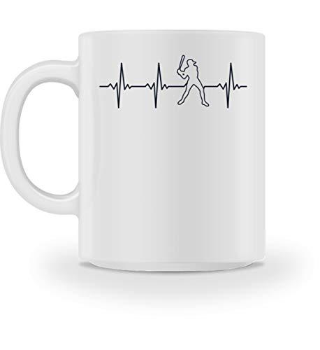 Generisch Taza retro de béisbol con latido del corazón   Baseball Heartbeat EKG taza de café Blanco M