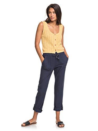 Roxy On The Seashore - Pantalón Elástico De Lino para Mujer Pantalón Elástico De Lino, Mujer, Mood Indigo, M