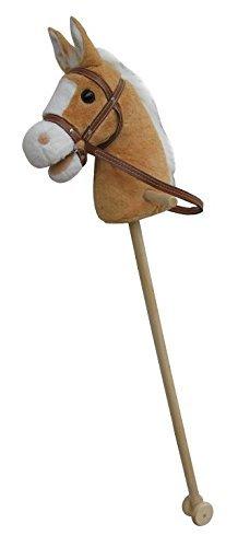 """Sweety Toys 5109 Steckenpferd Goldy """"My Donner"""", super-süss, Sweety-Toys,Farbe Goldbeige -sehr edel- mit weißer Mähne  mit Funktion Gewieher und Galoppgeräusch ,Größe ca.100 cm Top Qualität mit Haltegriffen und Laufrollen aus Holz"""