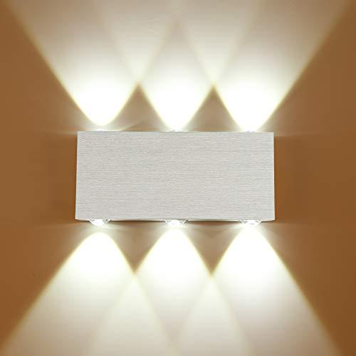 Lovebay Lampada da Parete Interno 6W LED Applique da Parete Up Down Faretto da Parete per Soggiorno Camera da Letto Bagno decorativa per Salotto Bagno Camera da letto Corridoio Luce Bianca Fredda