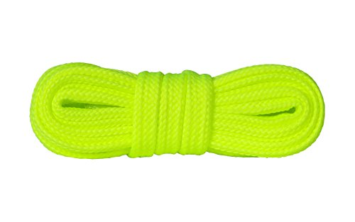 Kaps Schnürsenkel Turnschuhe & Freizeitschuhe, hochwertig, strapazierfähig, hergestellt in Europa, 1 Paar (120cm – 7 bis 9 Schnürösenpaare/lemon fluorescent)