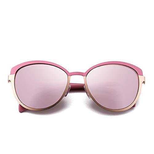 WPHH Gafas De Sol Polarizadas para Mujer, Espejo De Metal Vintage, Gafas De Sol De Diseñador, Gafas De Sol para Hombre De Conducción,Rosado