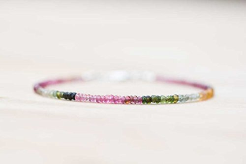 LOVEKUSH 925 Sterling Silver Wholesale 2.5-3mm Multi Colour Watermelon Tourmaline Stracking Bracelet Rondelle, Faceted 18cm for Mens, Womens, GF, BF and Adults.