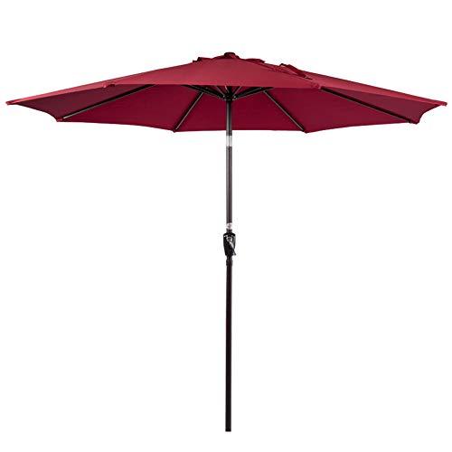 Sundale Outdoor 10FT Patio Umbrella Table Umbrella Market Umbrella with Aluminum Pole & Auto Tilt, Polyester Canopy Shade for Patio, Garden, Deck, Backyard, Pool, Red