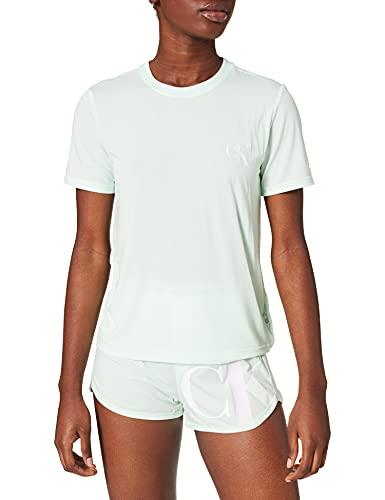 Calvin Klein S/S Short Set Juego de Pijama, Prosper Floral Print_Pink Smoothie, XS para Mujer