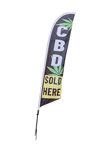 FixtureDisplays CBD Oil Sold HERE Flag 12' Tall Outdoor Feather Sign CBD Banner, Flag, Advertising, Pole Set, Outdoor Retail, Curbside Sidewalk Feather Flag 12013-CBD
