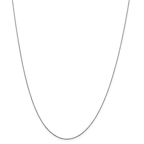 10k White Gold .6mm Link Cable Chain Necklace 20 Inch Pendant Charm D-c Round Fine Jewelry For Women Gifts For Her
