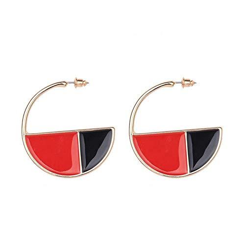 CEXWZQ Ohrringe Zweifarbig Halbkreis Große Ohrringe Lange Ohrringe Damen Geschenk Brautkleid