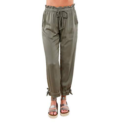 Sommerhose der Frauen Normallackgummibundbügel beiläufige Taschenhosen Arbeiten elastische lose Hosen der hohen Bundbandbreite um Sonojie