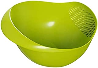 Sencillez Multi-function Plastic Colander Rice Washer Food Strainer Sieve Prep and Serve Bowl for Kitchen Rinsing Vegetables, Fruit, Rice, Lentils, Quinoa (Large, Green)