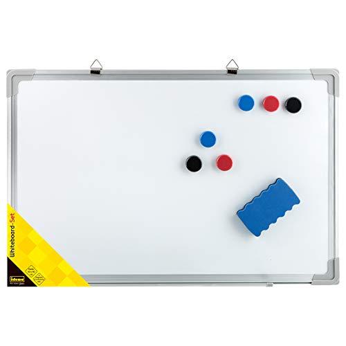 Idena 10413 - Whiteboard mit Alurahmen, ca. 30 x 40 cm groß, inklusive 6 Magnete und Schwamm, zur Wandmontage geeignet, ideal für Büro und zu Hause, ohne Maker