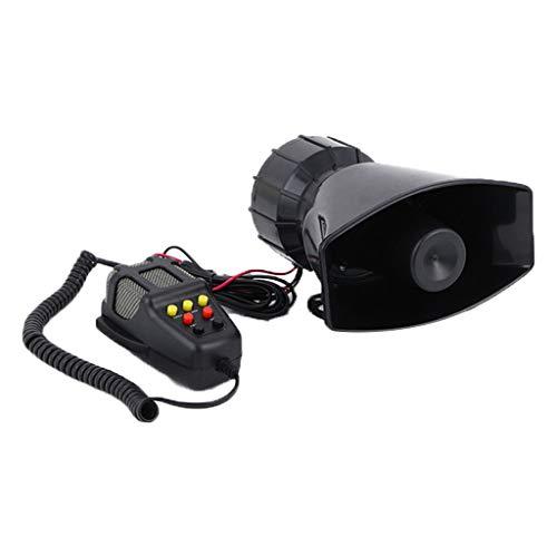 Chenso Bocina de aire de caracol, sonido de sirena, sirena, claxon, sistema de altavoces, amplificador de emergencia, 12 V, 100 W, color negro
