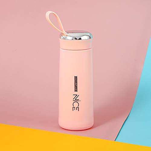 Xiaobing Taza de Agua de Vidrio Creativa Taza de Negocios Frasco de vacío portátil Taza de Agua para Deportes al Aire Libre -pink-301-400ml