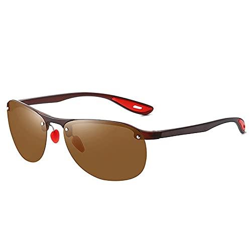 XJW Gafas de sol polarizadas de medio marco para hombres y mujeres, gafas de sol de conducción nocturna 2021/5/25 (color: verde azulado)
