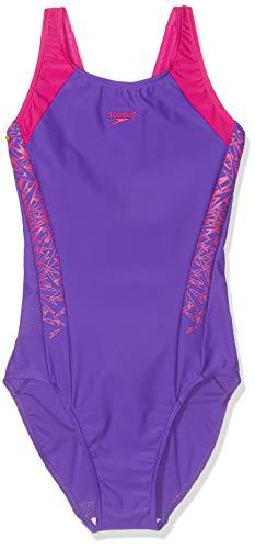 Speedo Girls' Boom Splice Muscle Back' Swimsuit, Royal Purple/Electric Pink, 32 (13-14 Years)