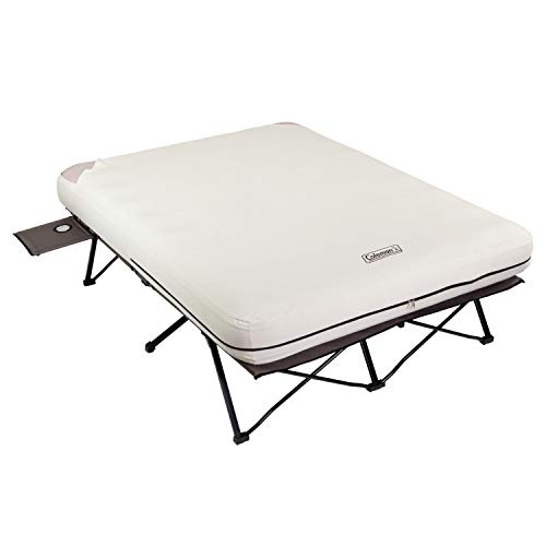 Coleman Camping Cot with Air Mattress   Folding Airbed with Side Tables and 4D Battery Pump for Camping, Queen