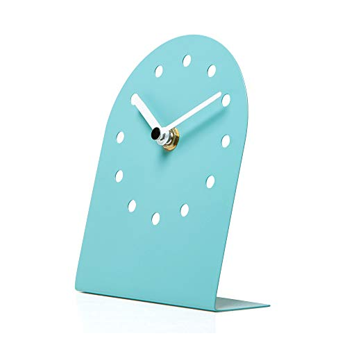 NIKKY HOME Orologio da Tavolo in Ferro Silenzioso Antiscivolo per Soggiorno Camera da Letto Decorazione Domestica 12 x 15 x 5 cm Blu