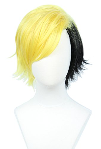 Linfairy Short 2 Tone Layered Cosplay Wig Halloween Costume Wig for Men