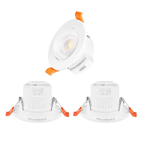 Lamparas Focos Downlight LED Empotrables de Techo Orientables Pequeños 5W para Habitacion Color de Luz Ajustable No Regulable Agujero de Techo Diámetro 65-80MM Lot de 3 de Enuotek