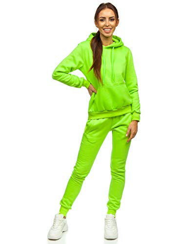 BOLF Damen Sportanzug Jogginganzug Trainingsanzüge Fitnessanzug Sweatshirt Set Tracksuit Workout Sport Fitness für Running Yoga Gym Sportswear J.Style 0002 Grün-Neon M [H8H]