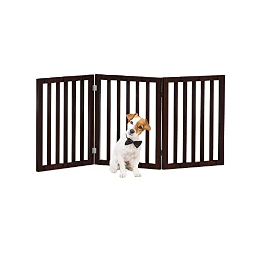 PETMAKER Freestanding Pet Gate - Wooden Folding Fence for Doorways, Halls, Stairs and Home - Step Over Divider - Great for Dogs and Puppies - 3 Panel Brown