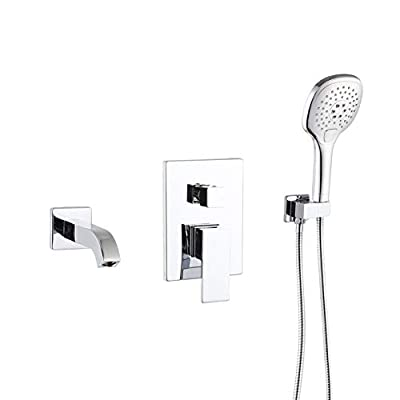 POP Polished Chrome Wall Mounted Tub Faucet with Hand Shower Bathroom Wall Mount Tub Filler Faucet Single Handle Solid Brass Bathtub Faucet with Handheld Shower for Bath