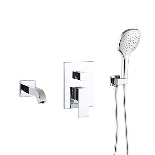 POP Polished Chrome Wall Mounted Tub Faucet with Hand Shower Bathroom Wall Mount Tub Filler Spout Single Handle Solid Brass Bathtub Faucet with Handheld Shower for Bath