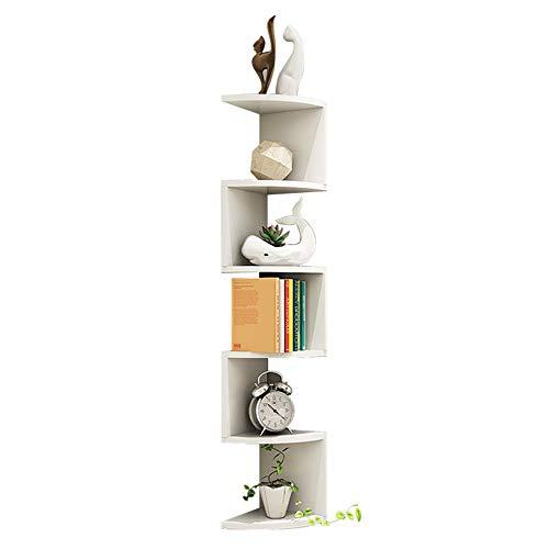FEI Étagère D'angle, Étagère Murale 6 Étagères Étagère En Forme Zigzag Bibliothèque, Blanc 150 * 22 * 1,7 Cm