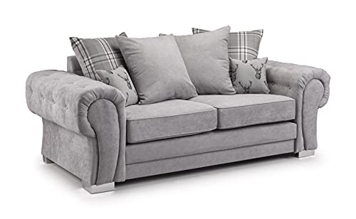 Honeypot - Sofa - Verona - Fabric - Corner Sofa - 3 Seater - 2 Seater - Footstool - (Grey, 3 Seater)
