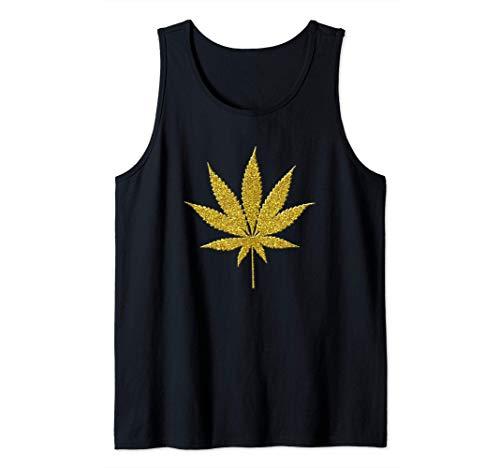 Marihuana-Hanf-Topf, goldenes Weinlese-Symbol Tank Top