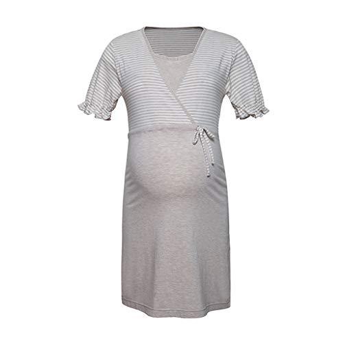 Nachtwäsche Nachthemd Schwangerschaft Damen Baumwolle Nachtwäsche Klassische Streifen Nachtwäsche Schwangere Kurzarm Gürtel zum Binden Schlafanzug 3 Farben Wundervolles Geschenk der Frau Nachtwäsche