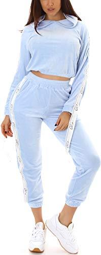 Jela London Damen Velour Hausanzug Nicki Trainingsanzug Jogginganzug High-Waist, Hellblau 40-42 (L/XL)