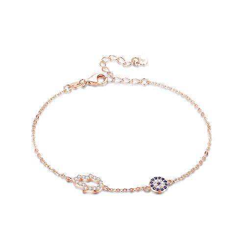 Pulsera de plata de ley 925 con diseño de mano de Fátima de ojo malvado de oro rosa, cadena de...