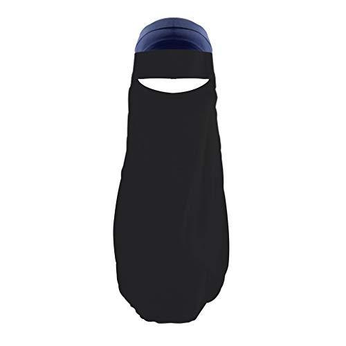 Lazzboy Frauen Indien Hut Muslim Rüschen Krebs Chemo Beanie Wrap Cap Schal Schal Niqab Dreilagig - Hijab Gesichtsschleier Islamische Gebetskleidung(Schwarz)