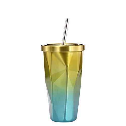 WEARRR Botella de café de Acero Inoxidable de 500 ml / 17oz de Doble Pared de Acero Inoxidable con Paja para IR a la Copa de Cerveza fría con Tazas de Agua aisladas de Vaso Tazas