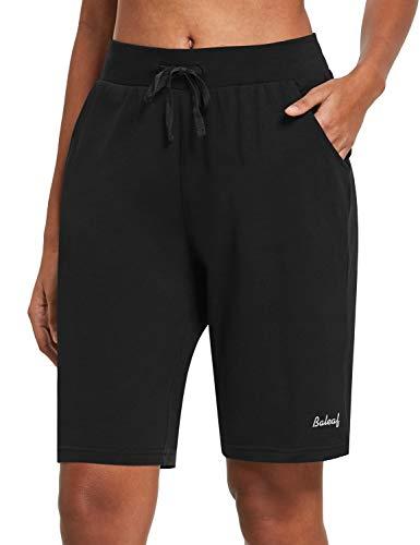 BALEAF Women's 10' Long Shorts Cotton Lounge Yoga Bermuda Walking Pajama Activewear Jersey Shorts Pockets Black M