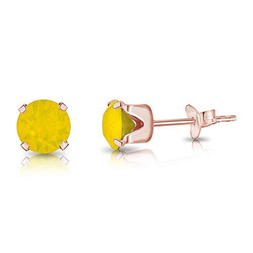 DTPsilver Semental Pendientes/Aretes de Plata de Ley 925 Chapado en Oro Rosa con Cristal Swarovski Elements Redondo - Diámetro: 6 mm - Color: Ópalo Amarillo
