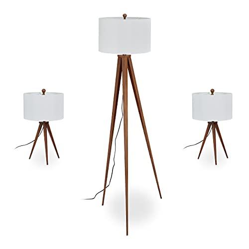 Relaxdays Juego de 3 lámparas de pie y 2 lámparas de mesa, diseño retro, E27, lámpara con cable, color marrón y blanco
